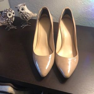 Cole Haan nude patent leather pumps